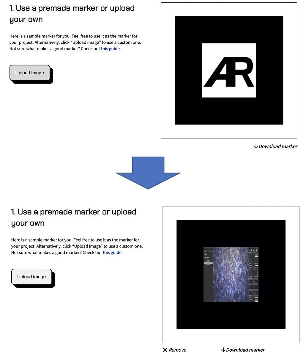Select or upload a marker for AR.js studio