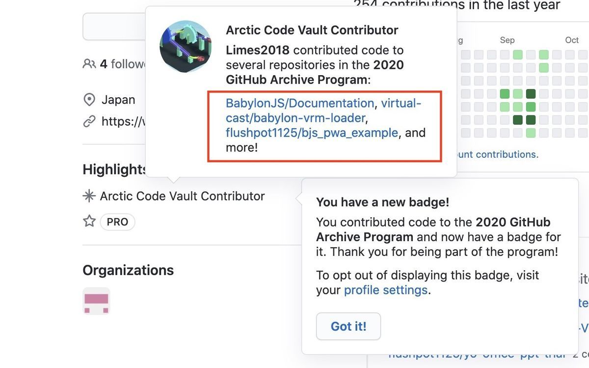 An example of Arctic Code Vault Contributor repositories