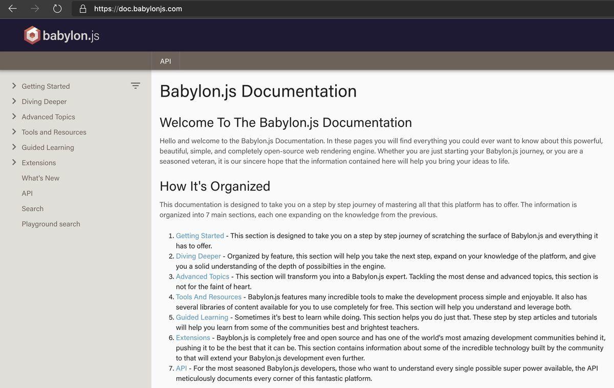 Layout of BJS documentation site