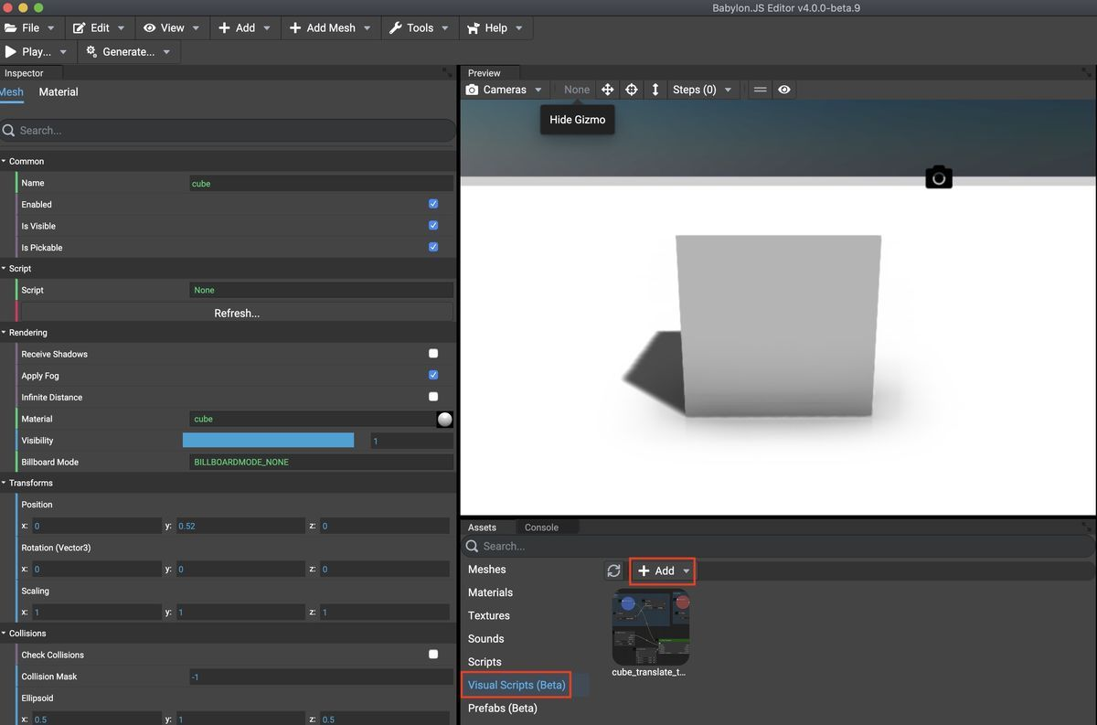 Add new visual script on Babylonjs Editor v4beta9