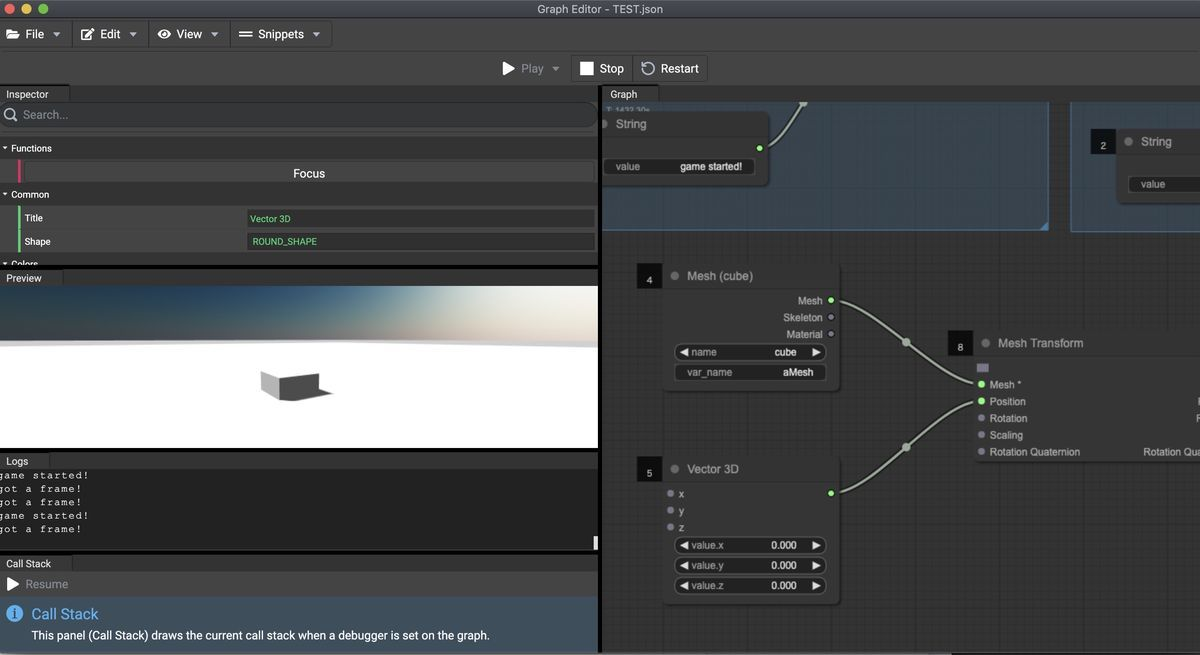 Second example of Graph Editor Preview
