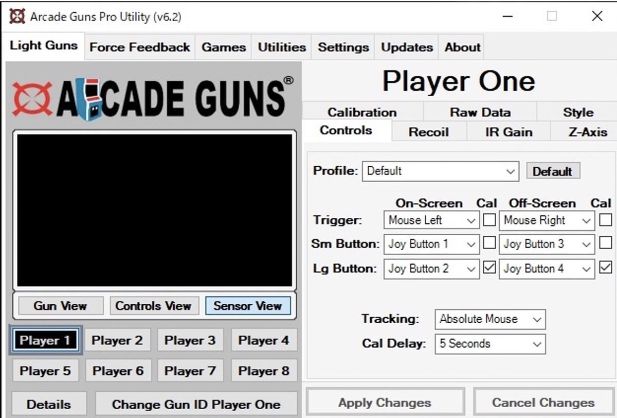 Arcade Guns Pro Utility Software main screen