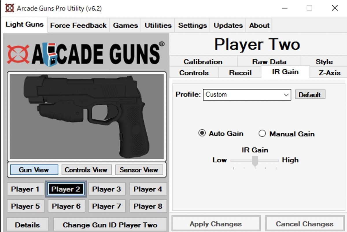 IR Gain setting of Arcade Guns Pro Utility Software