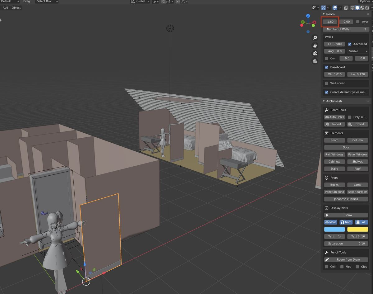 Aligned VRM model on Blender 2.83 and Archimesh
