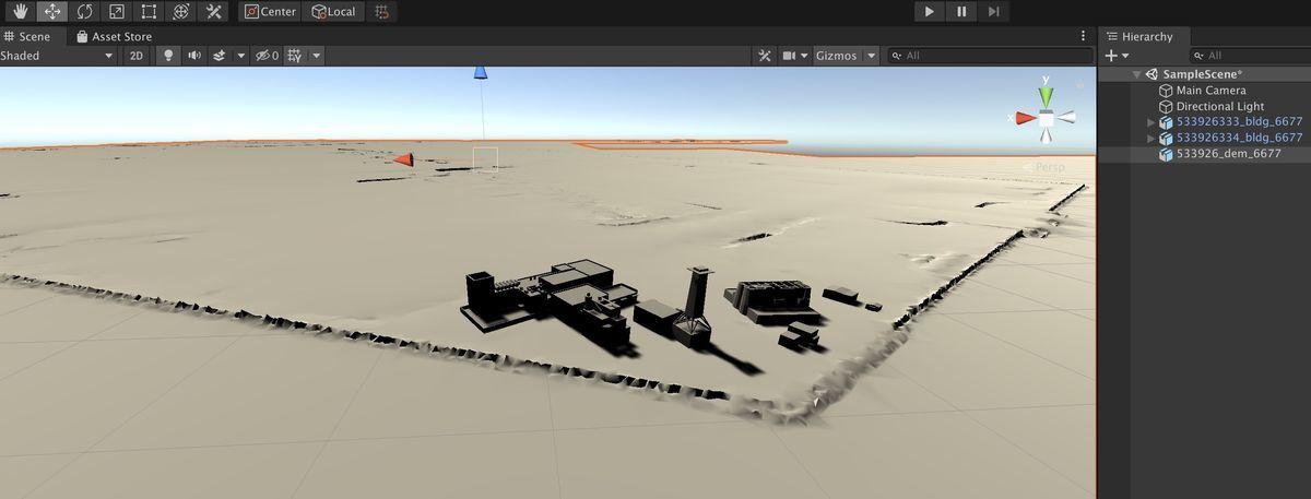 Two PLATEAU 3D city model fbx on Unity 2019