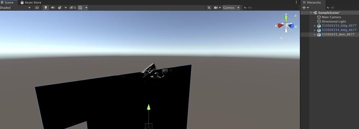 Two PLATEAU 3D city model obj on Unity 2019