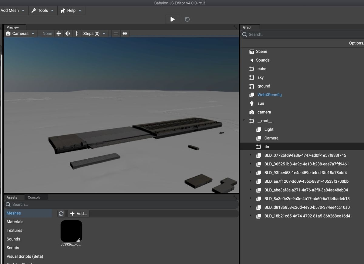 Loaded a PLATEAU model on Babylon.js Editor v4.0.0-rc.3