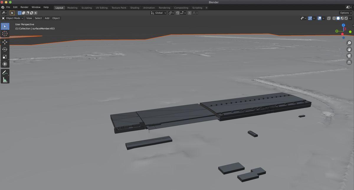 Loaded a PLATEAU model on Blender 2.9