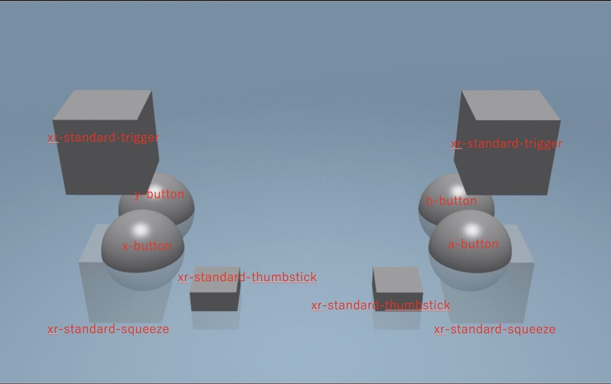 WebXR controller key map for cube and sphere on Babylon.js