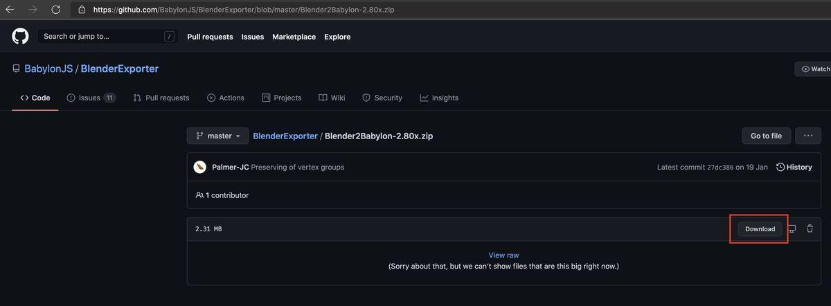position of Blender2Babylon-2.80x.zip on GitHub