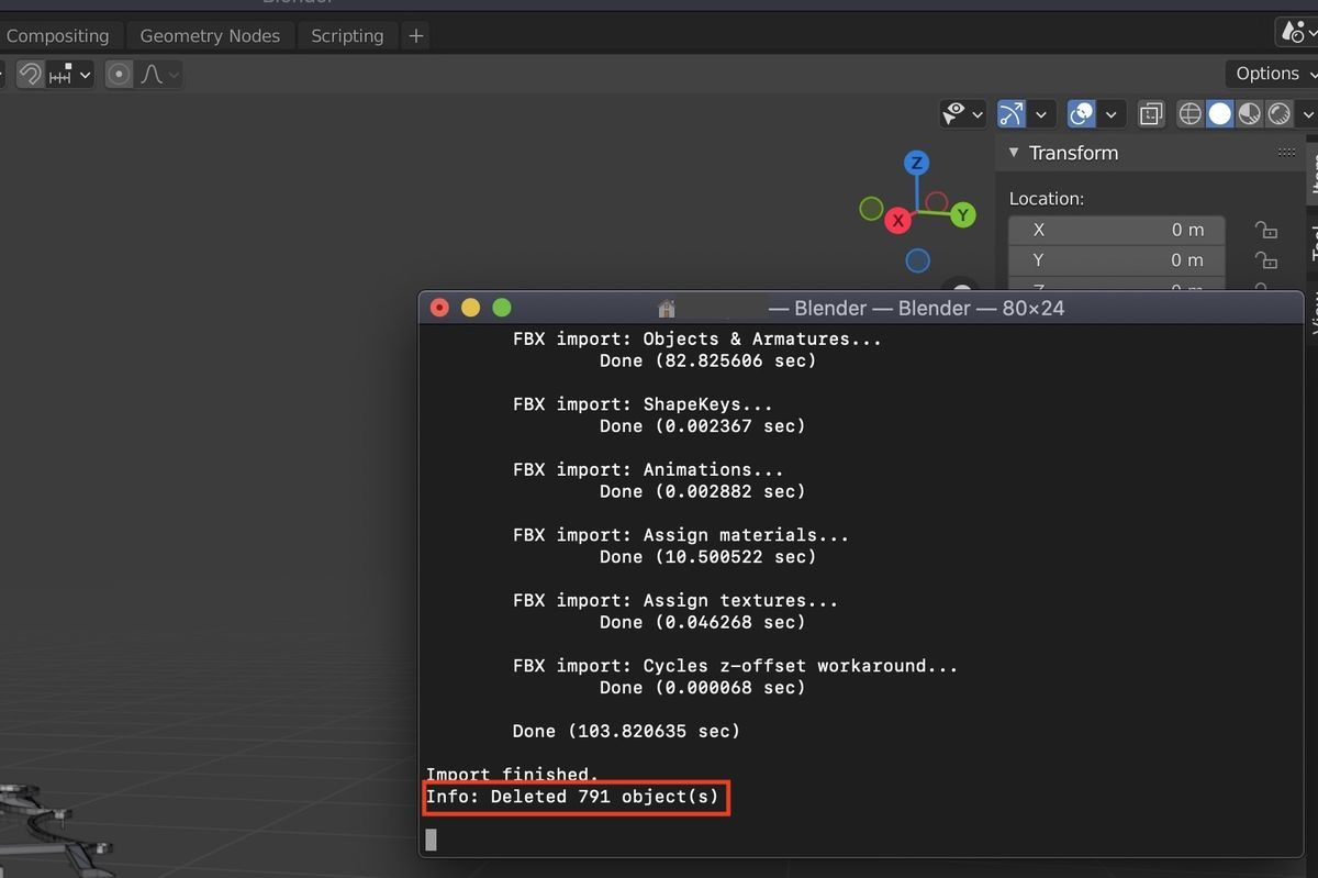 Delete objects results on terminal of Blender (MacOS)