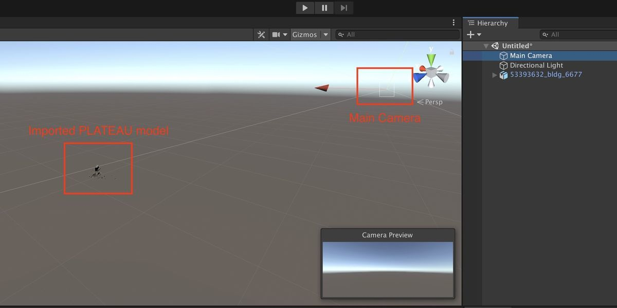 Distance relationship between camera and PLATEAU model on Unity