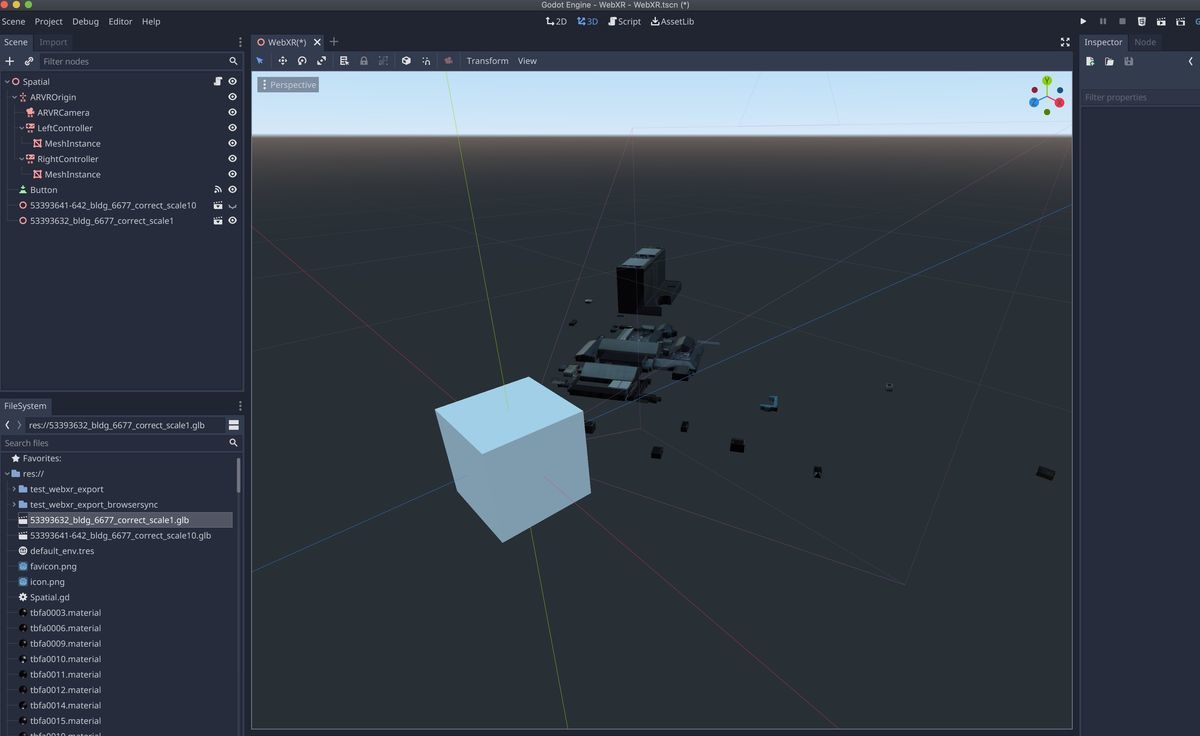 Imported a PLATEAU model as glb(scale=1) in Godot Engine
