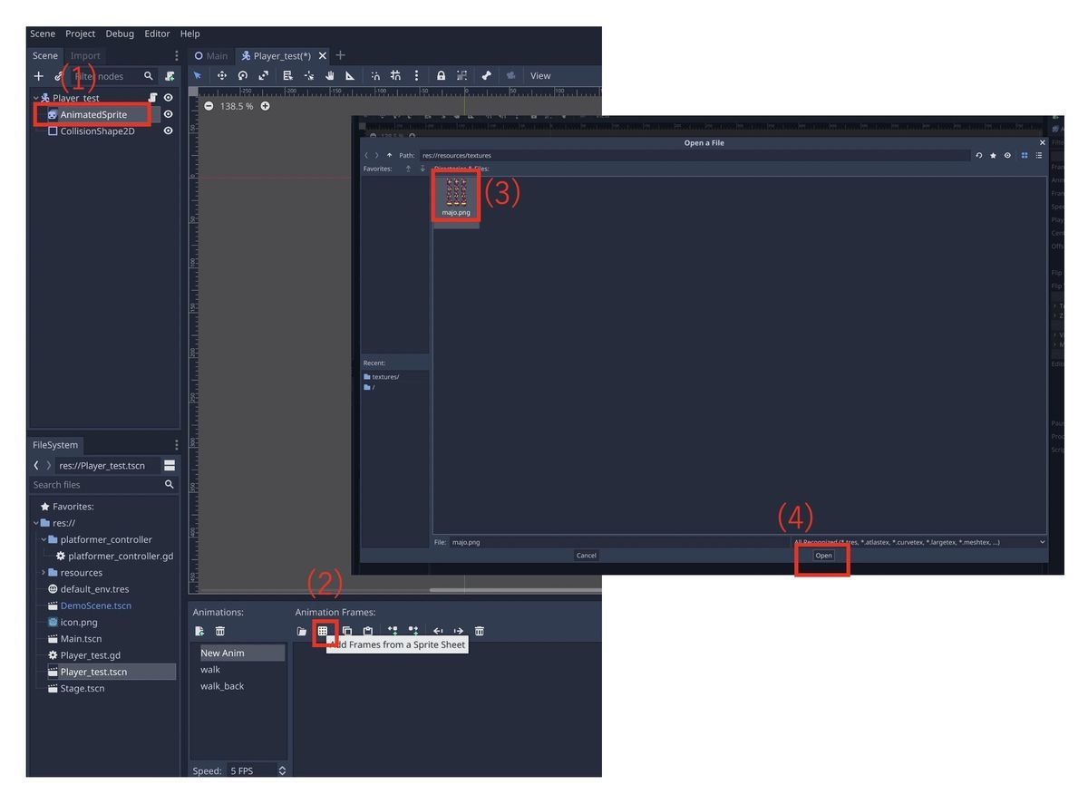 How to call sprite frames in Godot Engine