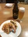 [2018誕生日ディナー]海老のあられ揚げ。お酒はCOEDOビール伽羅