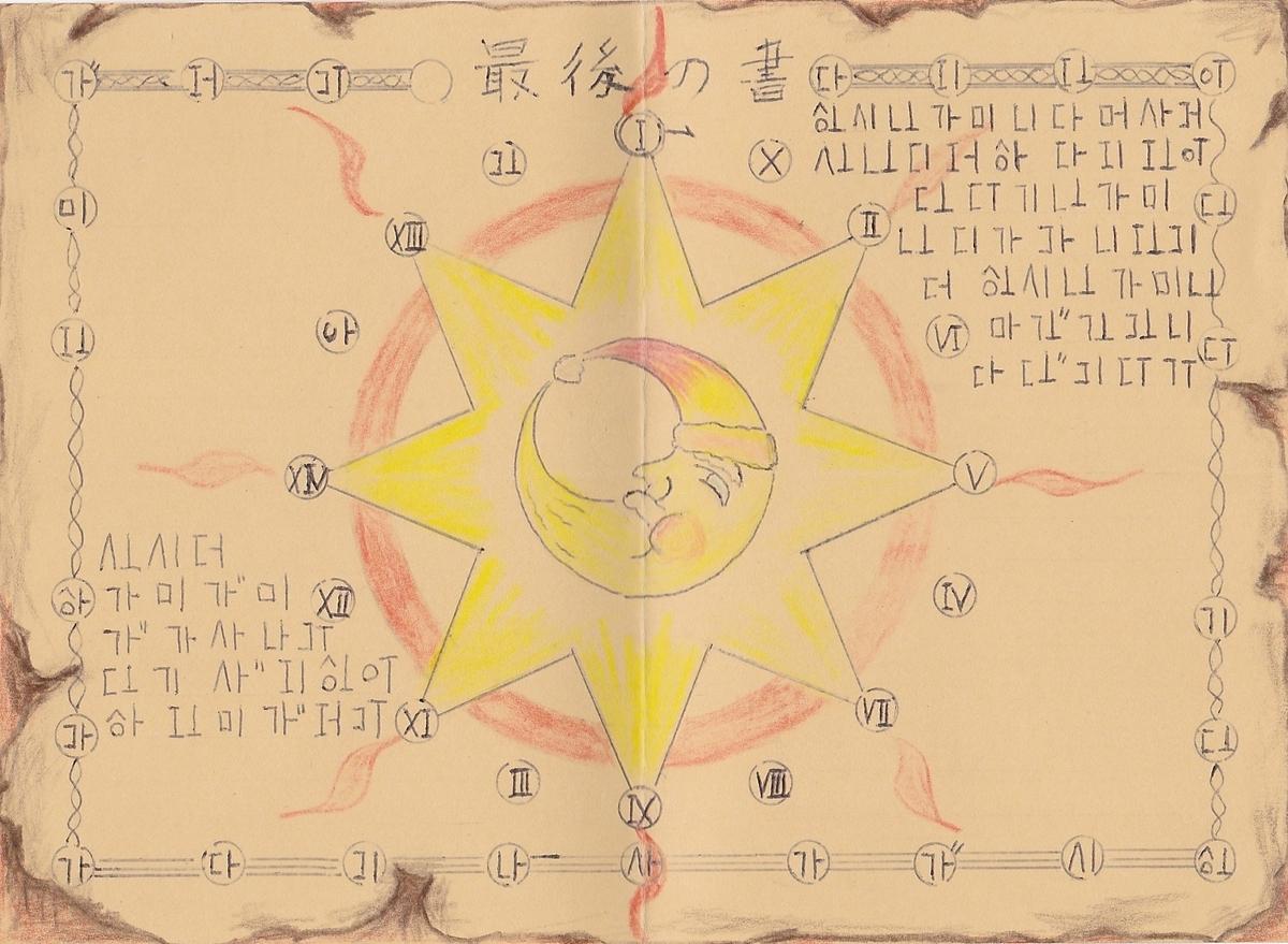 太陽と月と星が描かれた、「最後の書」という名の暗号文