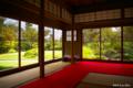 [静岡県][掛川城]掛川城二の丸茶室 広間からの庭園風景