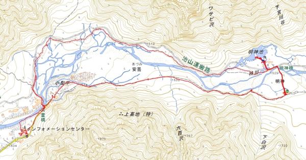 2016年9月28日上高地トレッキングトラックマップ
