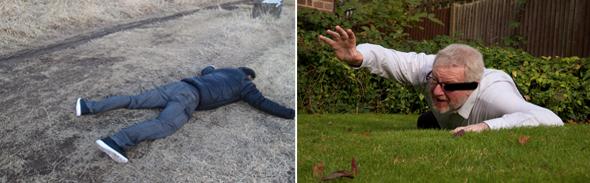 倒れている二人の男性の画像