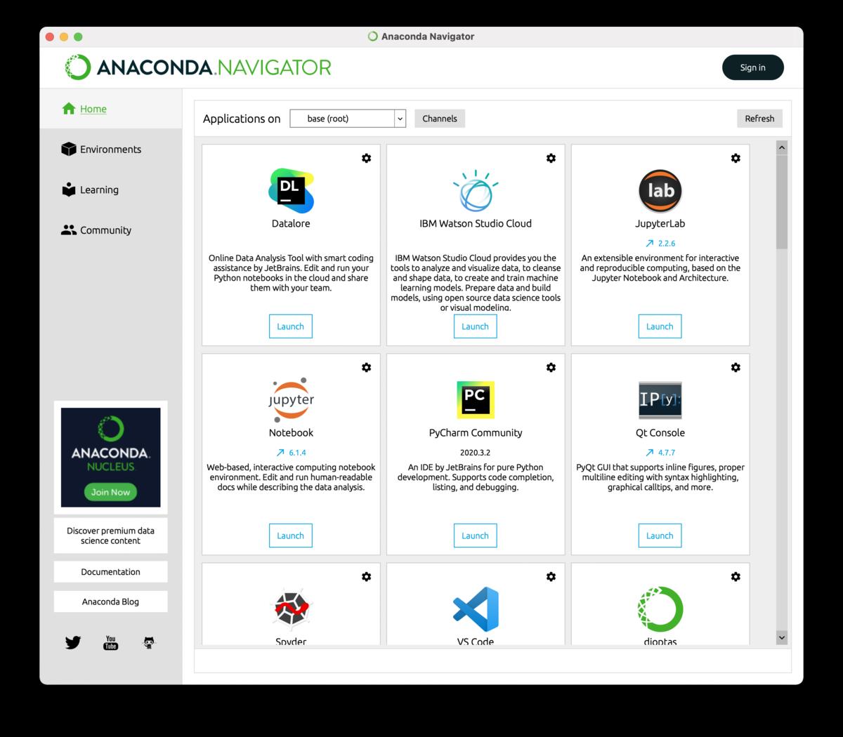 Anaconda-Navigatorの初期画面