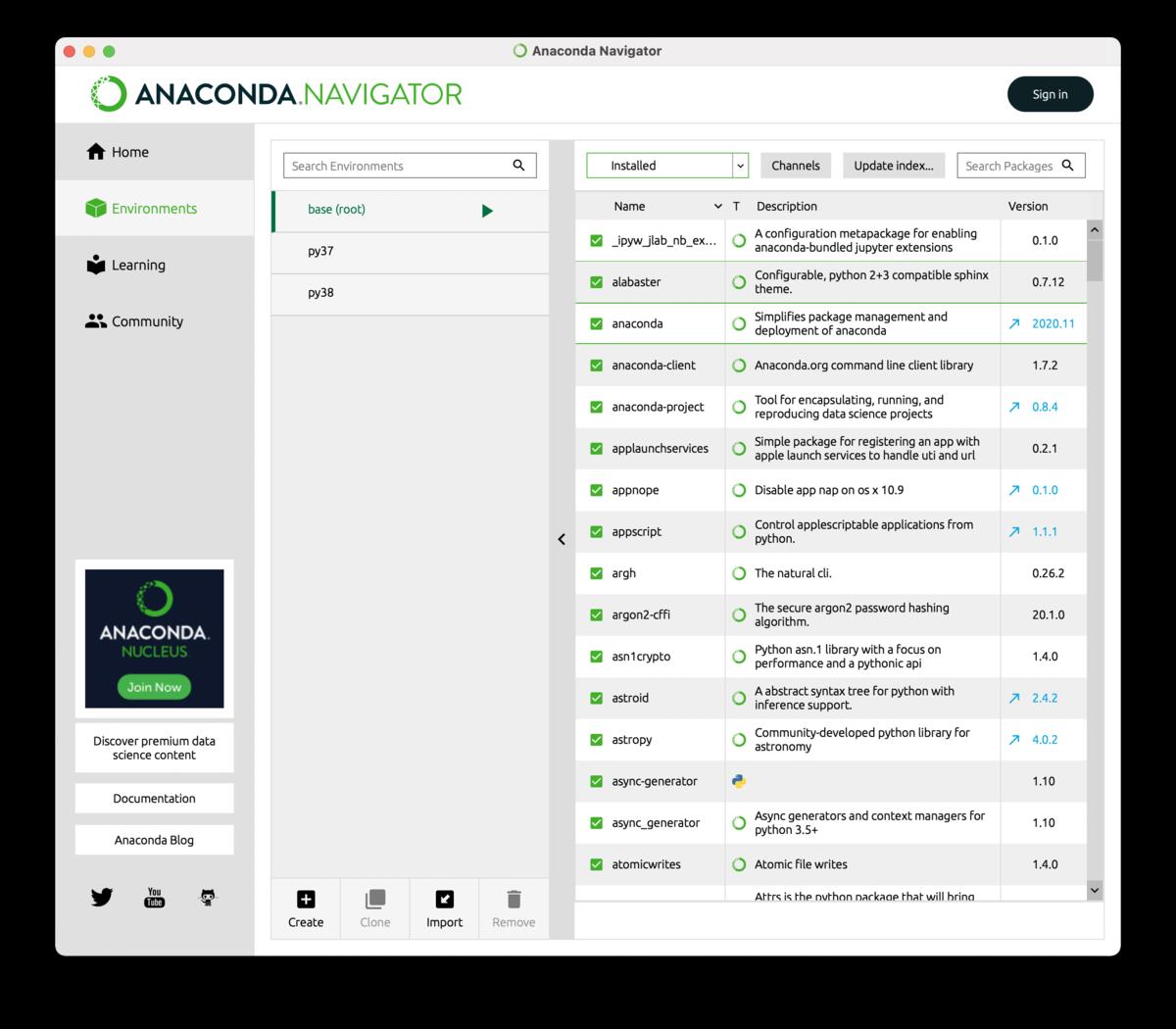 Anaconda-NavigatorのEnvironments画