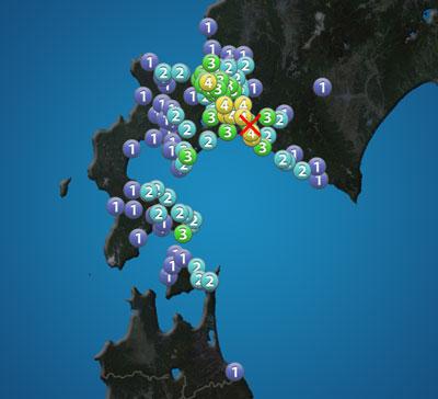 ウェザーニュースより9月17日夜中の震度