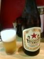 サッポロラガービールです。髭で飲めます。