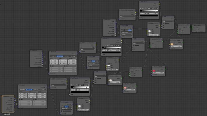 Blender ノードの多い状態