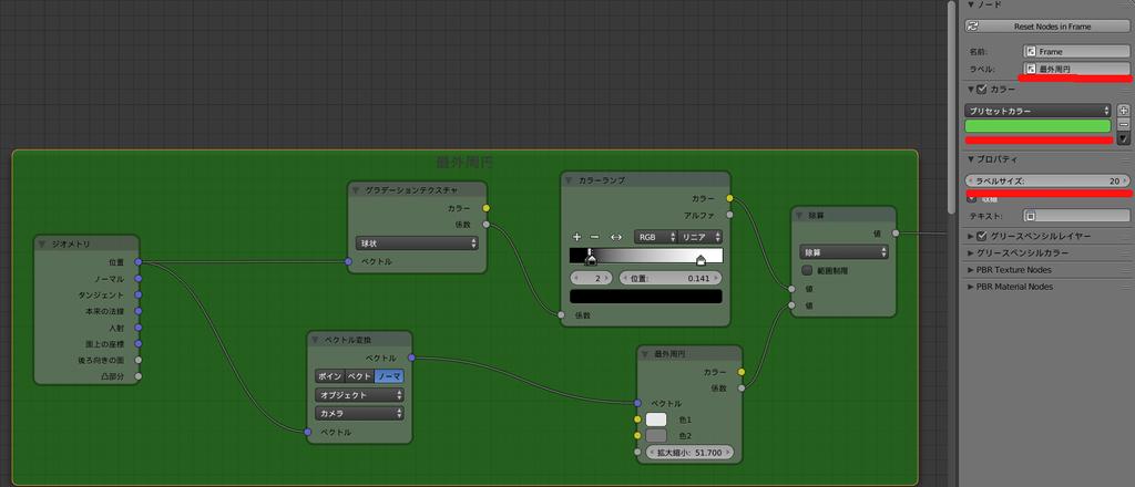 Blender ノードエディタ フレームのカスタマイズ