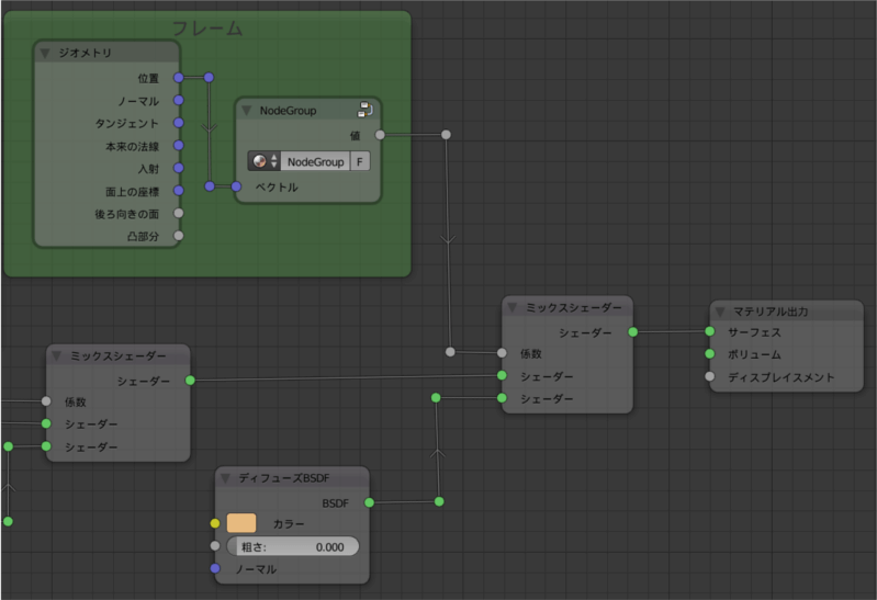 Blender ノードエディタ 設定 ノード曲線