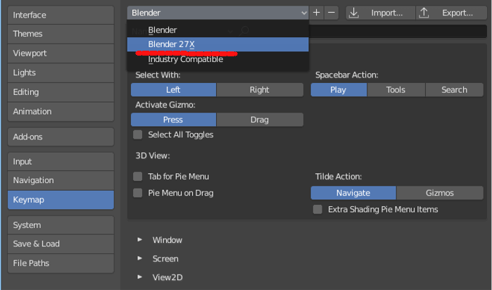 BlenderのキーマップのプリセットをBlender2.7Xに変更