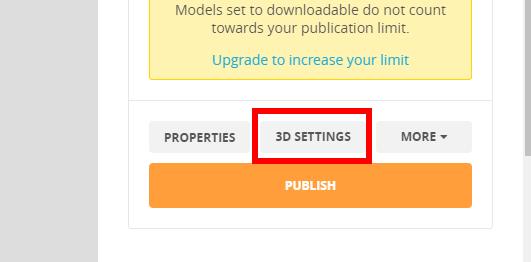 Sketchfabの3DSettingボタン
