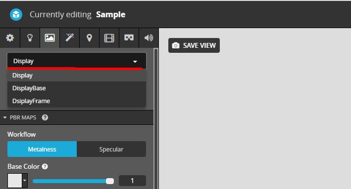 Sketchfabの3DSETTING画面のマテリアル項目のマテリアル選択