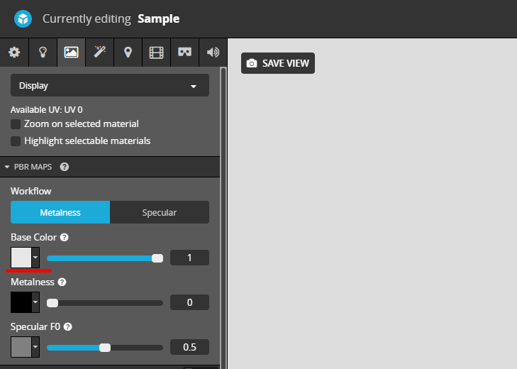 Sketchfabの3DSETTING画面のマテリアル項目のBaseColorのテクスチャボタン