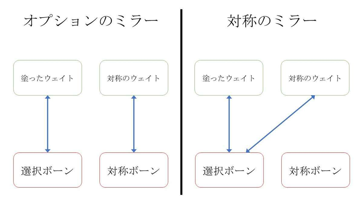 Blenderのウェイトペイントの対象項目のミラーと設定項目のミラーの違い
