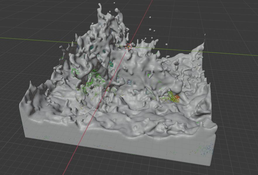 Blenderの流体シミュレーションのメッシュベイク結果
