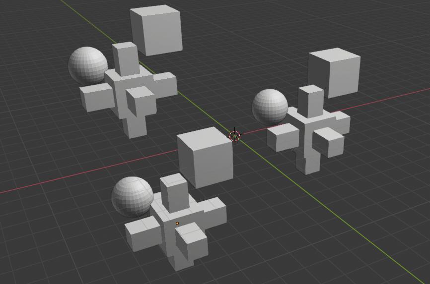 Blenderで複数のオブジェクトが追加されたコレクションインスタンス