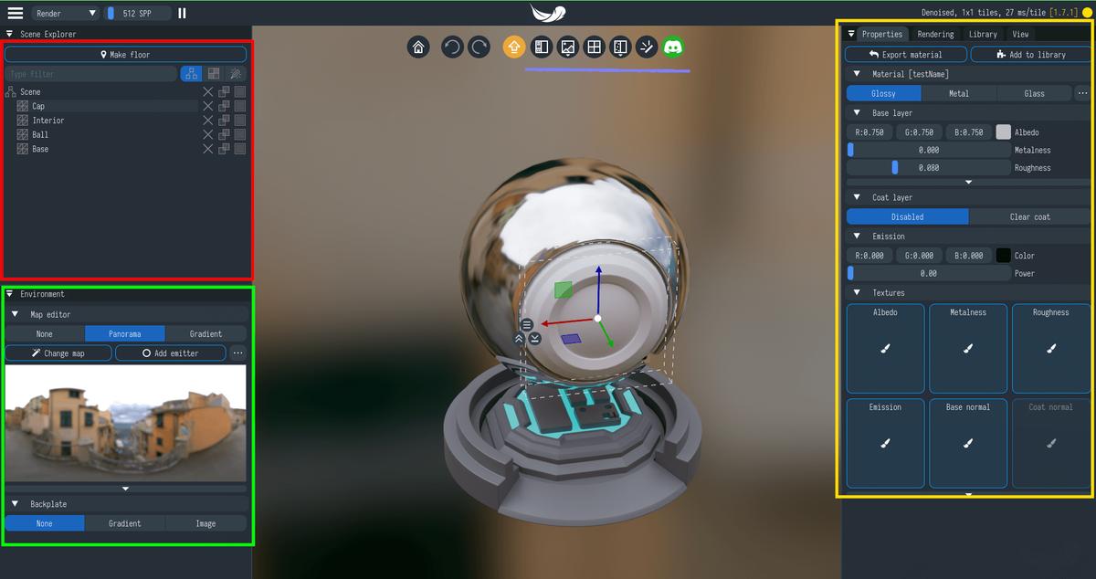 Light Tracerの操作画面