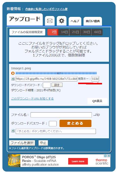 GigaFileの削除キーの表示