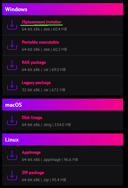 JSplacementのダウンロードページ