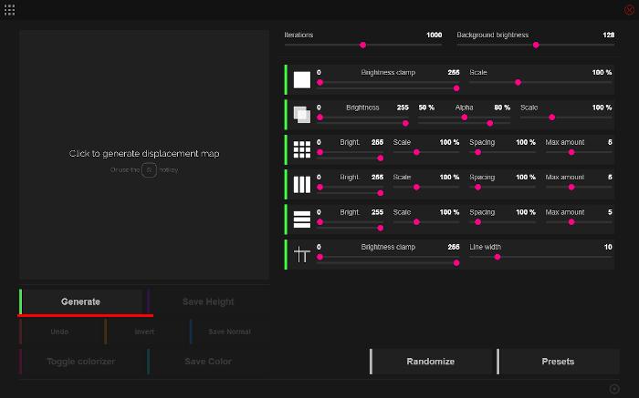 JSplacement の画像生成ボタン