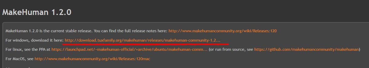 MakeHumanのOS選択画面
