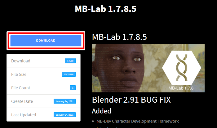 MB-Labのダウンロードページのダウンロードボタン