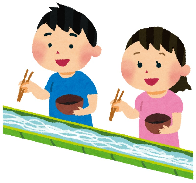 竹の筒に水を流して、流しそうめんをしている子供達のイラスト
