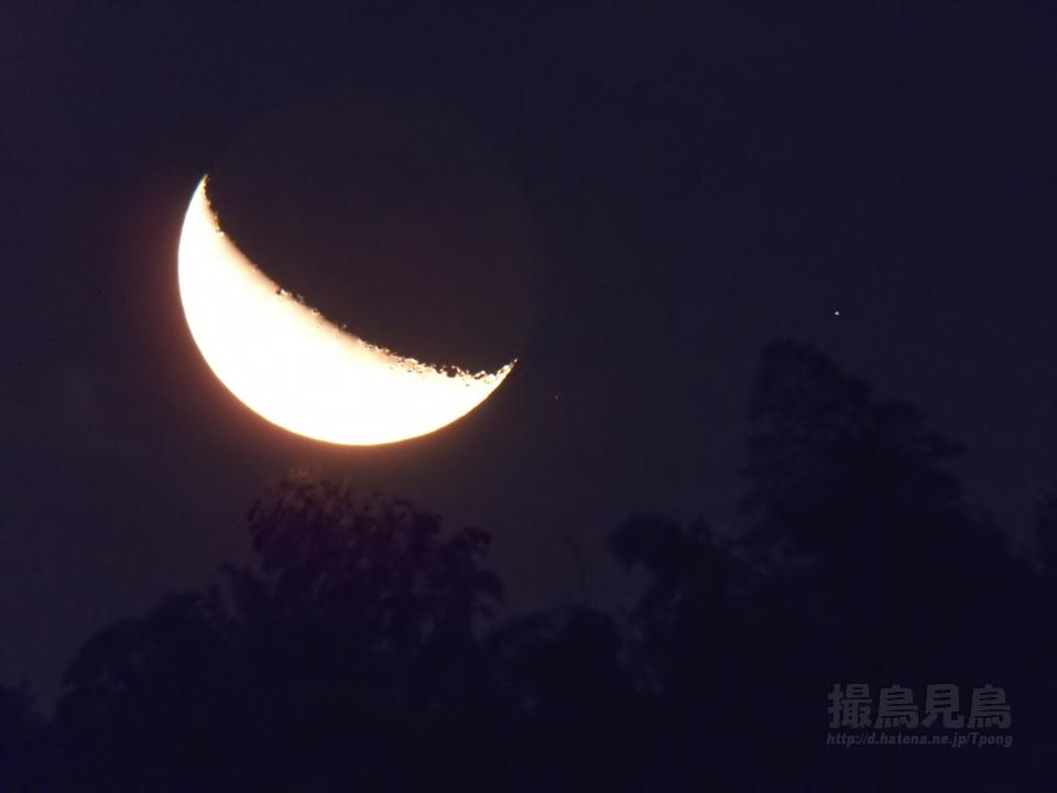 昇る月と火星