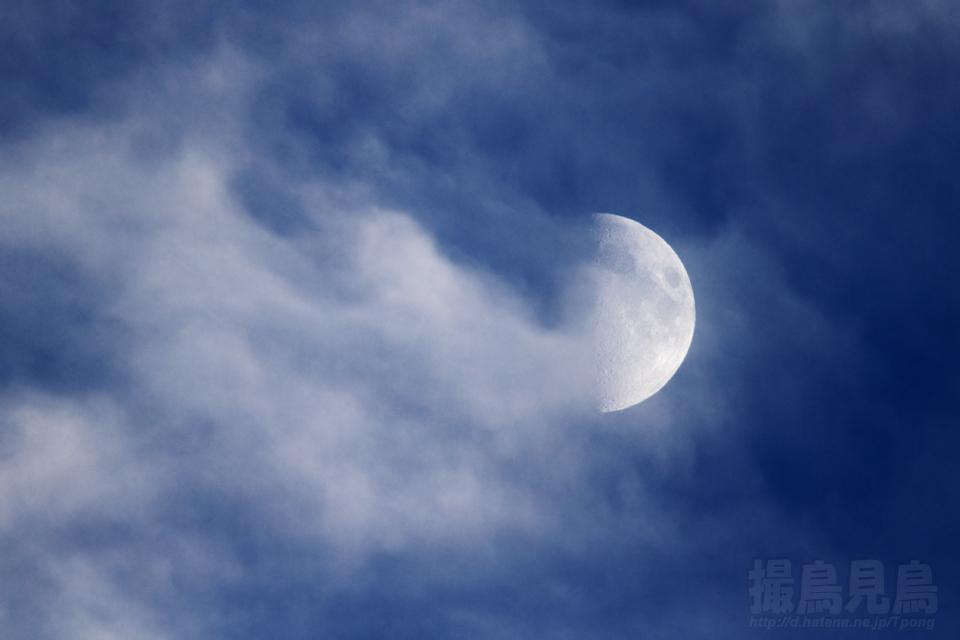 雲間の上弦月