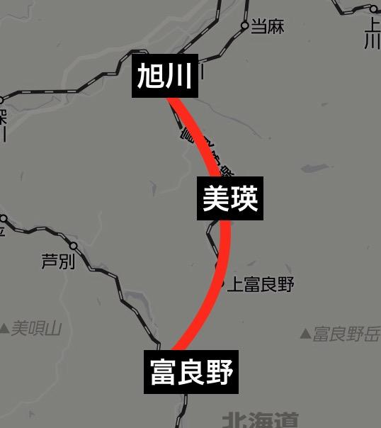 富良野・美瑛ノロッコ運転路線図
