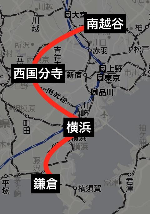 ホリデー快速鎌倉運転路線図