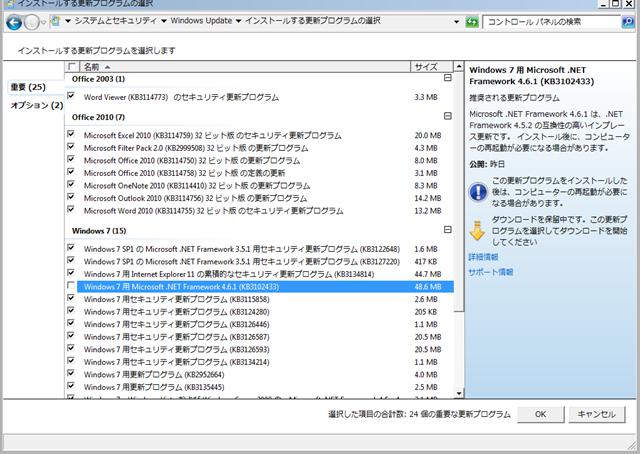 2016年02月の Microsoft Update 。(Windows 7、前半)