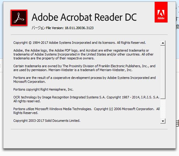 Adobe Acrobat Reader DC 18.011.20036 詳細バージョン情報。